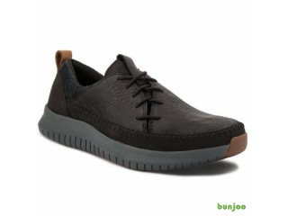 NEW CLARKS AISTON RUN BLACK LEATHER UK 8
