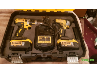 DEWALT 18V XR TWIN SET DRILLS, CHARGER +,BOX