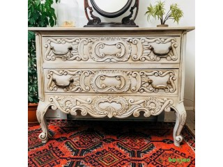 Vintage Style French Chateau Heavily Carved Chest of Drawers