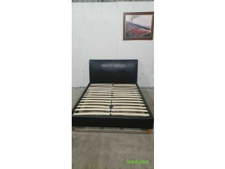 Dark Brown Faux Leather Double Bed Frame No181206