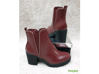 Wine red Chelsea chunky heel ankle boots
