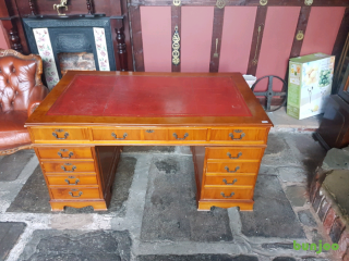 2 x leather inlay antique style desks