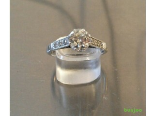 1ct Diamond & Platinum Antique estate ring Solitaire with Accents Colour:F/G Size N