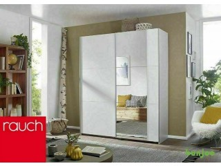 *14-DAY MONEY BACK GUARANTEE! ** A1 RAUCH German Sliding Wardrobe 175cm WHITE- NEXT DAY DELIVERY