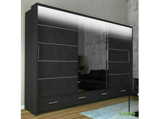 *14-DAY MONEY BACK GUARANTEE!**A1 Mendeley High Gloss Sliding Wardrobe 256cm BLACK with LED-NEXT DAY