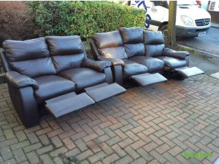 Leather sofas with recliners, vgc could deliver