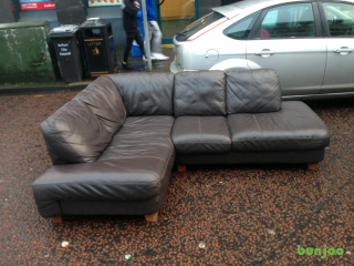 Brown leather corner group sofa £185