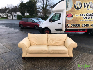 3 seater sofa in cream leather £85