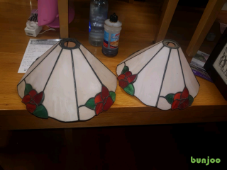 10. Repro stain glass lampshades