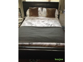 Next King Size leather upholstered sleigh bedstead