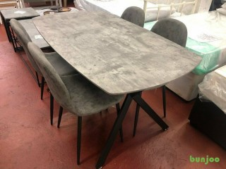 New grey stone effect dining table with 4 chairs £269 SALE ENDS SUNDAY