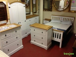 NEW Corona white or grey beds, bedsides, chests of drawers, wardrobes, dressing tables £69-£399
