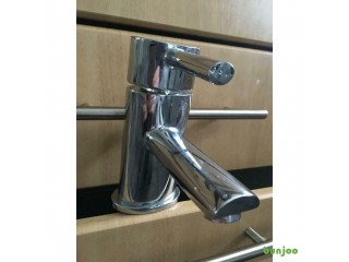 Stainless steel bathroom sink lever mixer tap