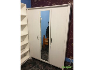 Cheap white wardrobe and wooden double bed frame