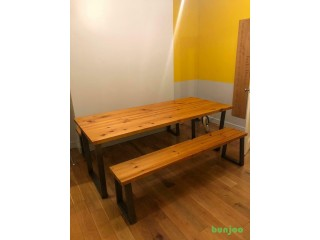 Industrial style solid wood table & benches with metal legs