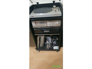 SONY HIFI SEPERATES, CASSETTE DECK, TUNER AMP,TURNTABLE, SPEAKERS & GLASS CABINET COLLECT ONLY