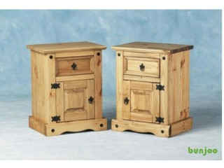 Pair of solid wood bedside cabinets tables
