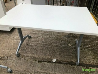 Set of 6 Tilt Top tables - white finish - quality locking mechanism.