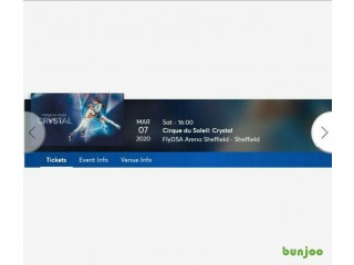 3 Tickets Cirque Du Soleil: Crystal FLYDSA Arena Sheffield Saturday 7th March 2020 Matinee 16:00