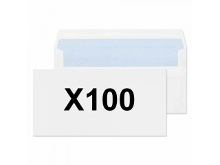100x 80gsm White Envelopes DL size 110 x 220mm Wallet Fast Seal Plain No window