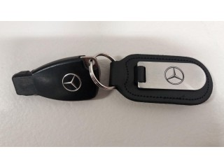 MERCEDES BENZ ORIGINAL - BLACK LEATHER (KEY RING) STAINLESS STEEL - £20