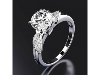 Classic Genuine 925 Silver Ring with created 8mm Moissanite