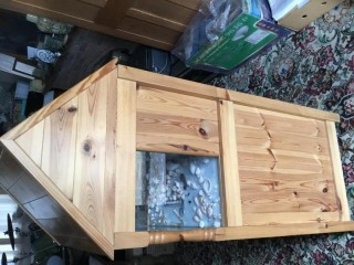Pine cabinet with display aquarium custom built