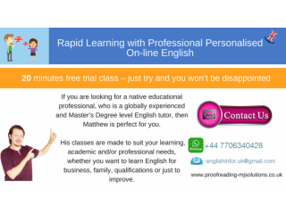 £15 per hour On-line English lessons - Rapid Learning with Profes