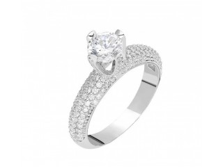 WOMEN'S 925 CARAT SILVER STARLIGHT DIAMOND RING
