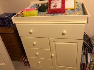Childs wardrobe and chest of drawers with baby changing table