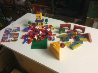 Lego and wooden building bricks