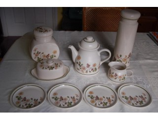 M & S Autumn Leaves China, Plates, Mug, Jug, T-pot & Stand, Storage Jars, Butter Dish, etc, All VGC