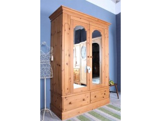 DELIVERY OPTIONS - LARGE DOUBLE PINE FARMHOUSE WARDROBE 2 MIRRORS 2 DRAWERS