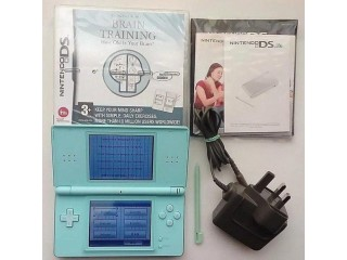 NINTENDO DS LITE ICE BLUE CONSOLE HANDHELD SYSTEM DS LIGHT TESTED WORKING RARE + 4 GAMES