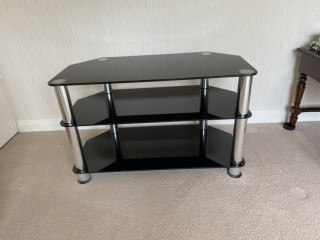TV Stand Dark Glass With Chrome Pillars