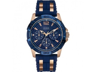 Guess Mens Oasis Two Tone Silicone Strap Watch W0366G4 Blue/ Rose Gold RRP £189.99