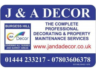 J & A Decor Painters and Decorators Burgess Hill, Haywards Heath, Hassocks, West Sussex, East Sussex