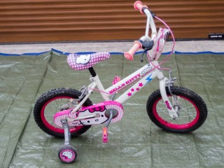 Hello Kitty bicycle for the little girls. It is beautiful.