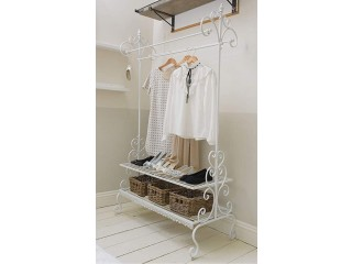 Clothes stand with shelves, ornate white metal