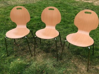 3 chairs for home/office/cafe use. £25. Ex cond. Wood with chrome legs