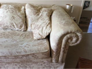 Very large cream 4 seater sofa,matching chair and poufee