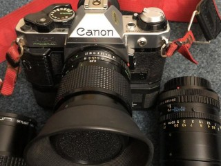 Canon AE Programme camera and assesories