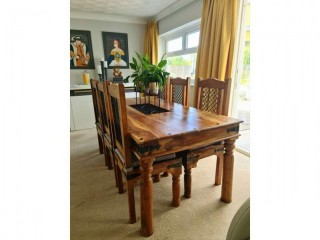 JALI EXTRA LARGE SOLID WOOD DINING TABLE + SIX CHAIRS