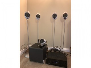 Sony 40 inch TV, Sony Surround Sound Receiver, KEF sub woofer and 5 KEF speakers with stands