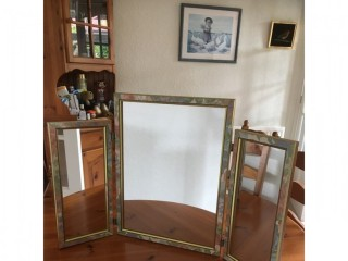 Three piece mirror dressing table stand