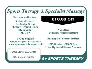 10 Off a 1 hr Myofascial Release treatment