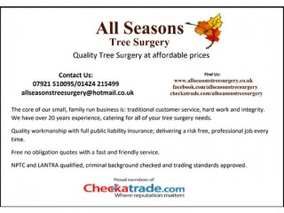 All aspects of tree surgery at affordable prices