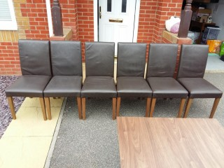 6 x Next Dining Room Brown Leather Chairs Used