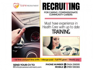 Nurses, Health carers, Drivers, Live in carers wanted.