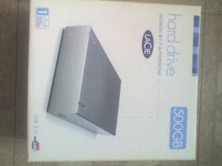 LACIE 500Gb Grey External Hard Drive Used, USB2 Interface with PSU & Cable